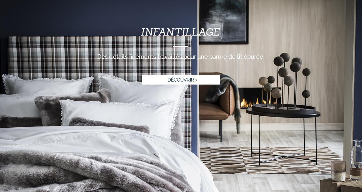 Parure de lit de luxe en satin de coton orné d'une guipure INFANTILLAGE