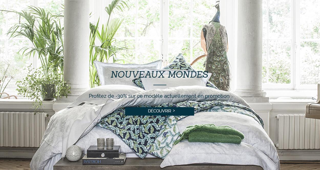 Nouveaux mondes : Profitez de -30% sur ce modèle actuellement en promotion, linge de lit luxe