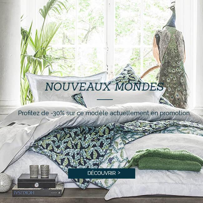 Nouveaux mondes : Profitez de -30% sur ce modèle actuellement en promotion, linbge de lit luxe