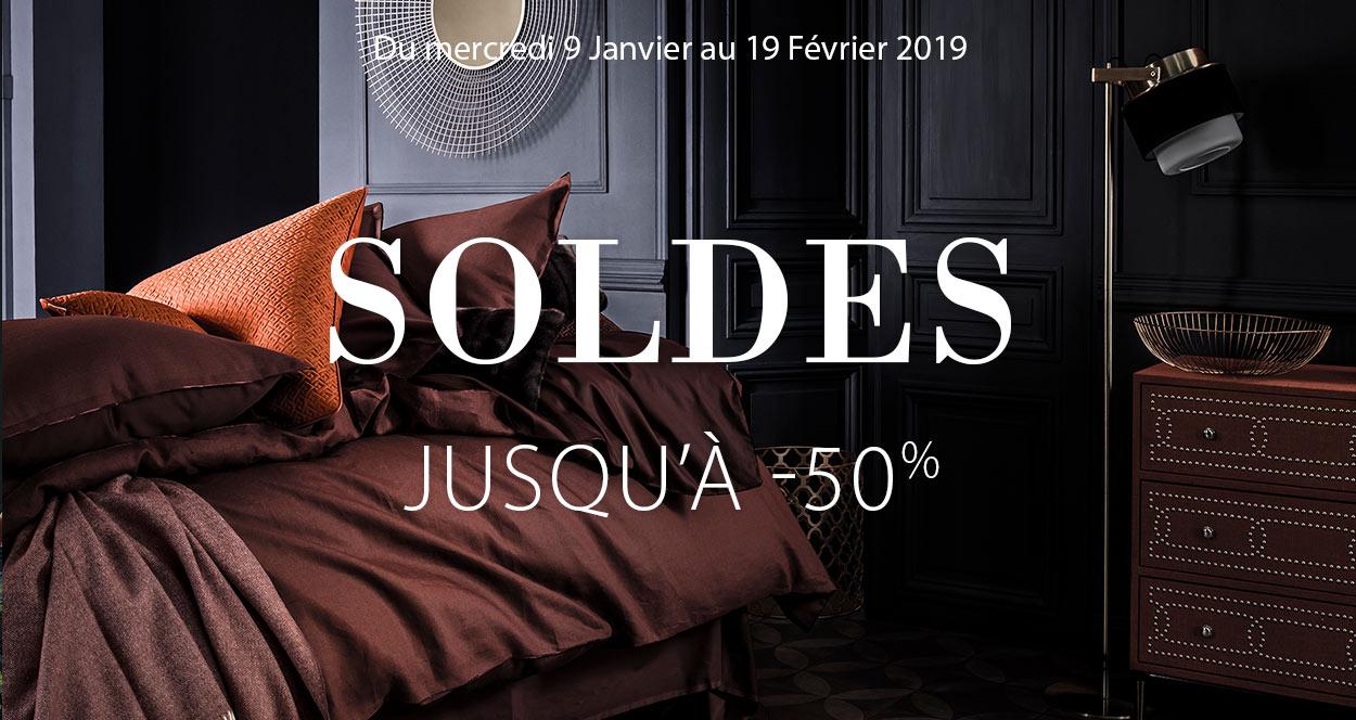 Soldes linge de maison de luxe, linge de lit luxe, linge de table haut de gamme