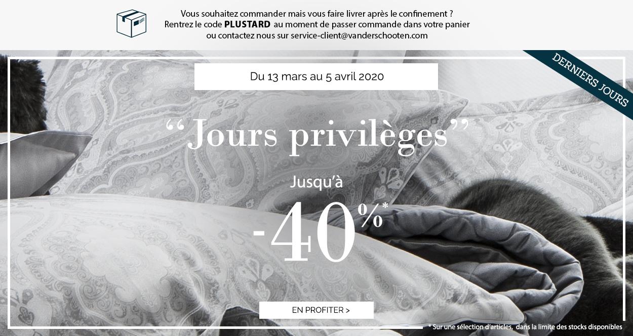 Jours Privilèges : Jusqu'à -40% sur une sélection d'articles !