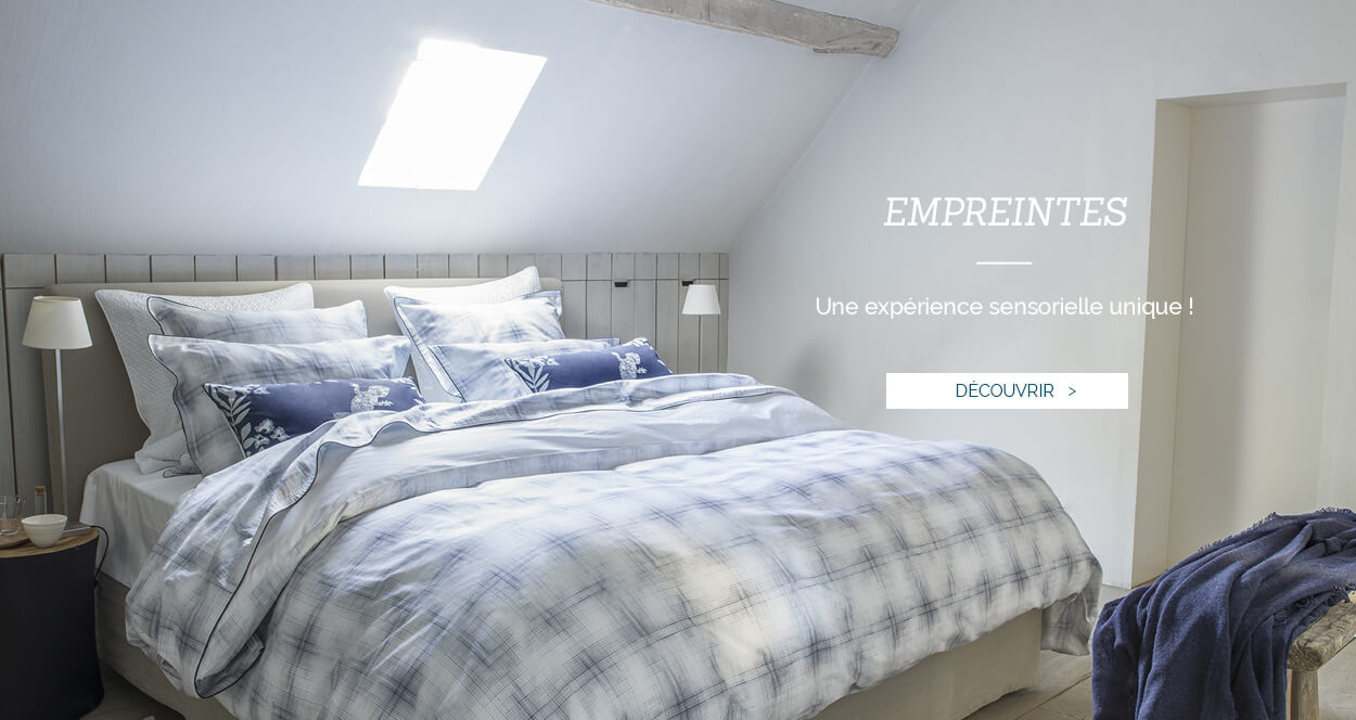 Parure de lit de luxe en percale de coton imprimé EMPREINTES