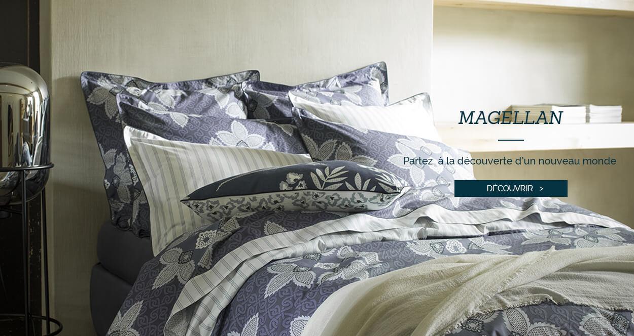 Parure de lit de luxe en percale de coton imprimé MAGELLAN