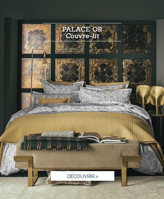 Couvre lit et housse de coussin Palace couleur Or >
