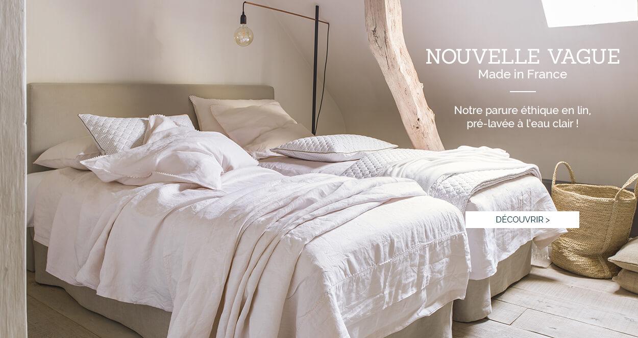 Parure de lit de luxe en lin uni lavé NOUVELLE VAGUE