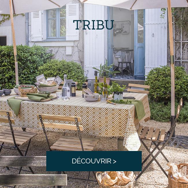 TRIBU, Nouvelle nappe en satin de coton imprimé Raphia >