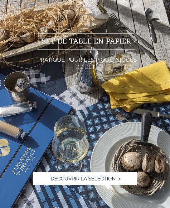 Linge de lit luxe, haut de gamme, parure de lit luxe, savoir faire made in France,set de table en papier