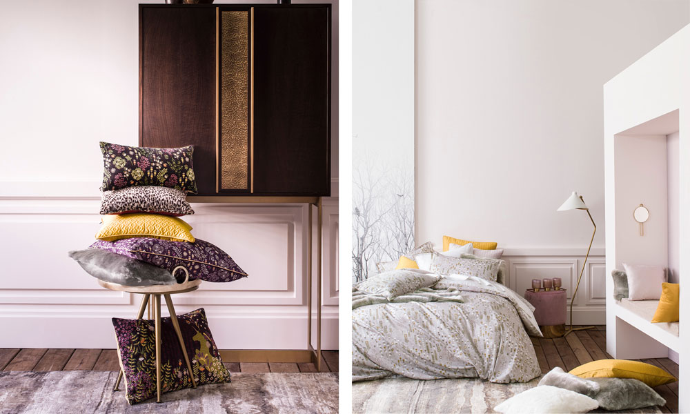 decorative cushions and conte d'hiver cotton sateen bed set