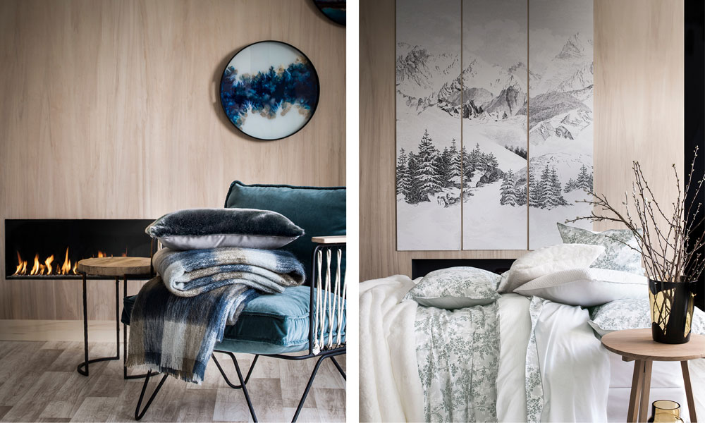 Tartan mohair throw and ermitage cotton percale bed set