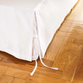 """Parure de lit VENISE Blanc en métis (Coton/Lin) - Finition jour """"venise"""""""