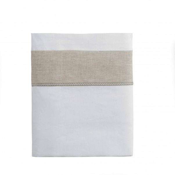 Drap de lit BASTIDE en lin Blanc/Naturel