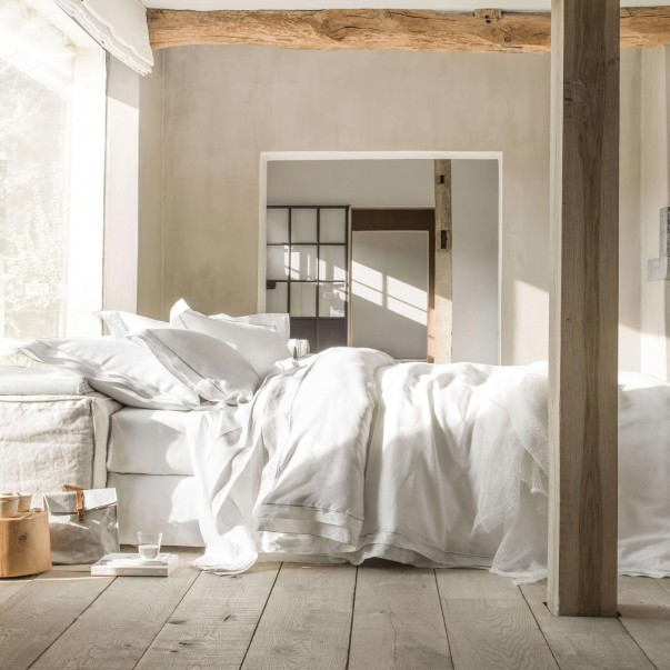 Parure de lit BASTIDE Blanc/Argent en lin