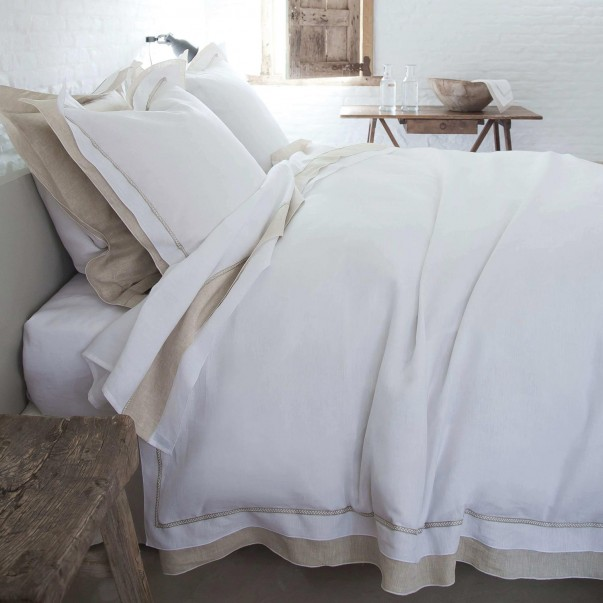 Parure de lit BASTIDE Blanc/Naturel en lin