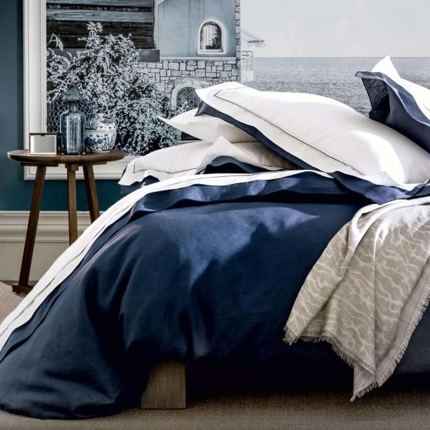Parure de lit BASTIDE Blanc/Marine