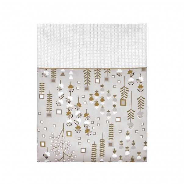 Drap Plat CONTE D'HIVER gris or Fleurs en satin de coton imprimé