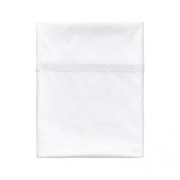 Drap plat blanc INFANTILLAGE orné d'une guipure en satin de coton