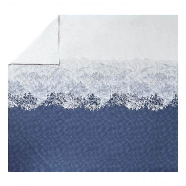 Housse de couette HIGLAND Bleu Denim, percale de coton imprimée
