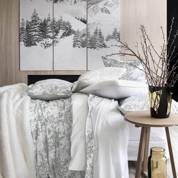 "Parure de lit ERMITAGE imprimée ""Feuillage Eucalyptus"""