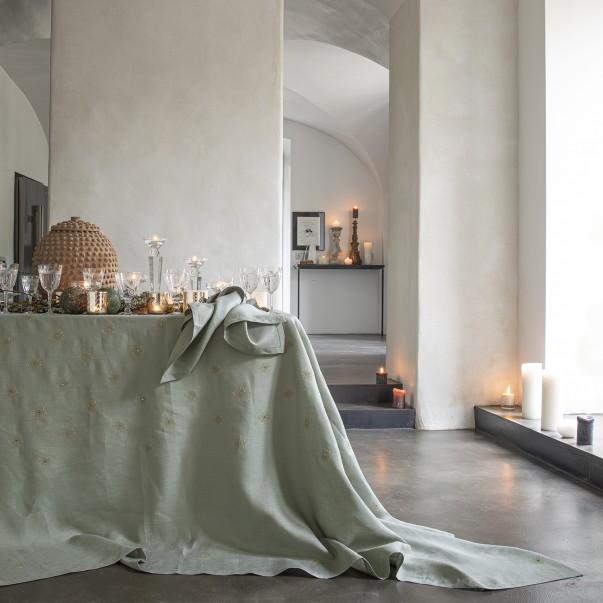 Nappe imprimée et brodée SIDÉRALE Olive en lin - Origine France Garantie