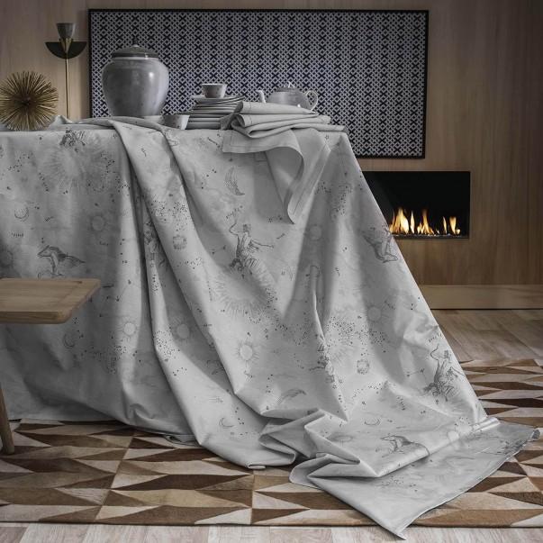 Nappe CASSIOPEE en satin de coton blanc