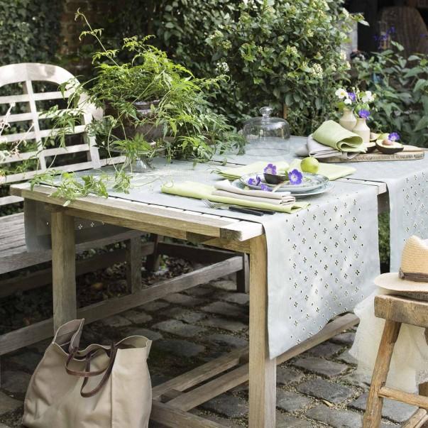 Chemin de table Luxembourg Olive  en lin