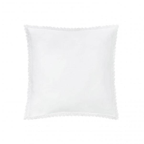 Taie d'oreiller INFANTILLAGE blanche ornée d'une guipure en satin de coton