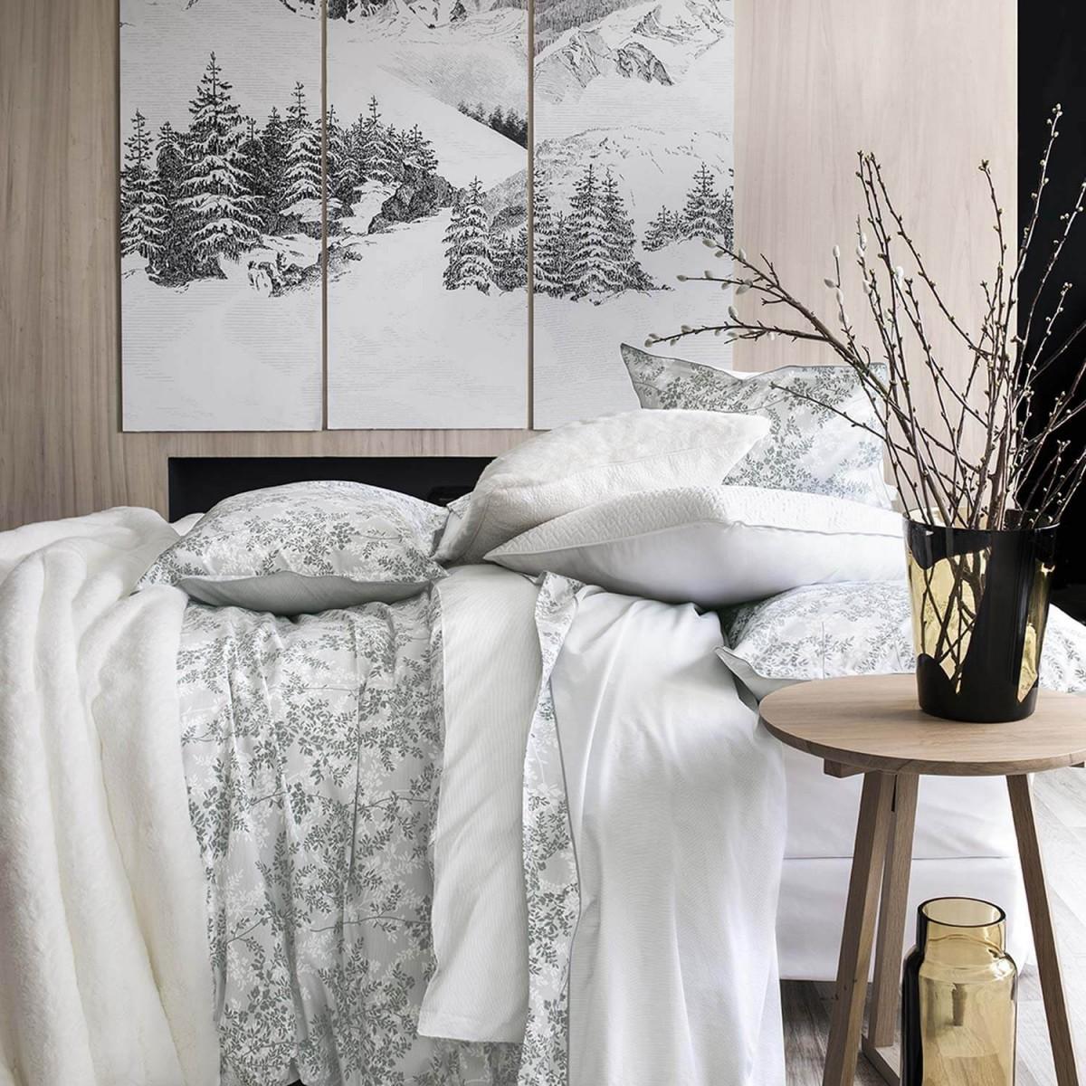 """Housse De Couette Noir Blanc Gris ermitage bed set, """"foliages"""" print"""