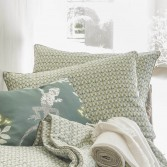 Throw or bed cover TERRITOIRE printed linen
