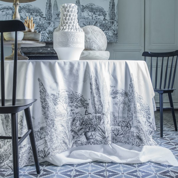 "Tablecloth anti-tâche ESTE printed cotton sateen ""Jardin de Méditerranée"""
