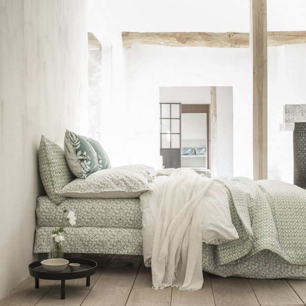 "Bed set cotton percale FEUILLES D'IKAT printed ""Art deco leaves"""