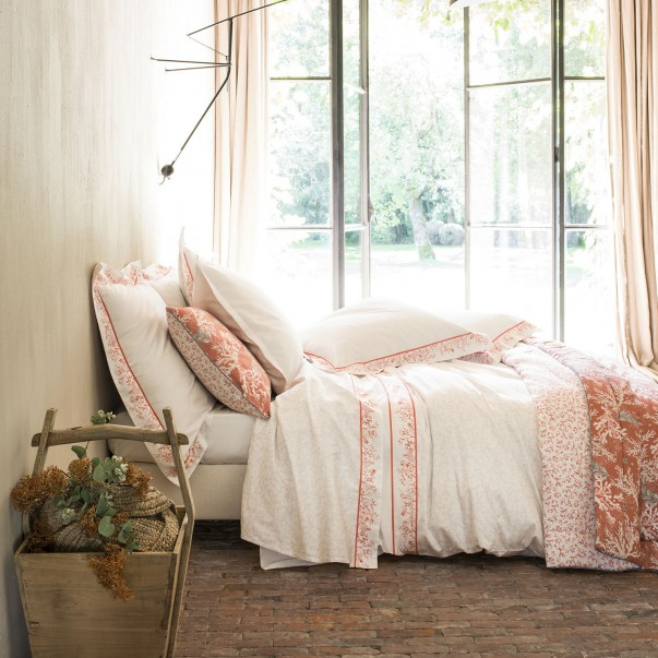 "Bed set ZANZIBAR printed sateen ""Corals and shellfishs"""