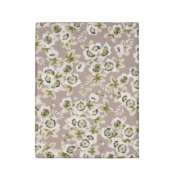 "BLOSSOM Flat sheet in organic cotton sateen printed ""Passiflore"""