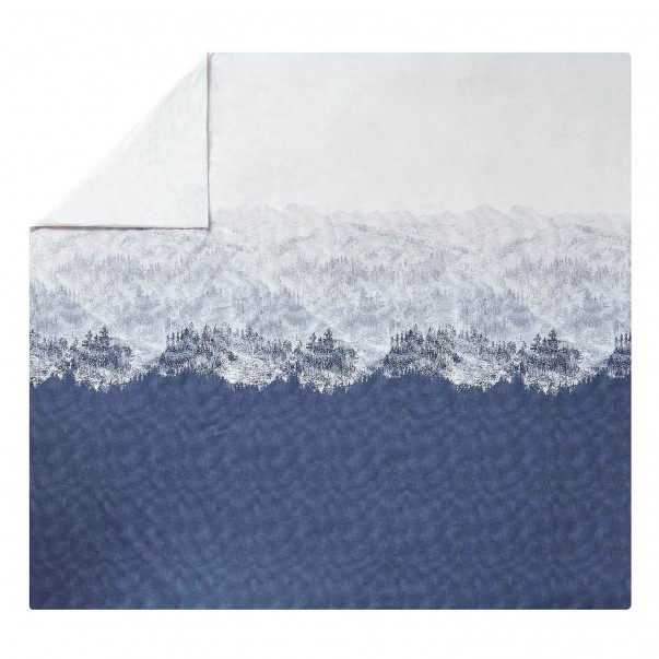 HIGHLAND Blue denim printed cotton percale duvet cover