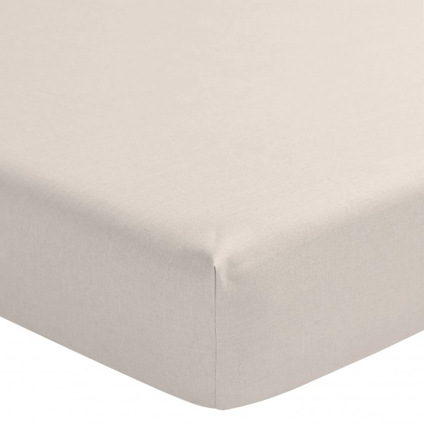 """Fitted sheet pre-washed linen NOUVELLE VAGUE  """"French Origin"""" guaranteed"""