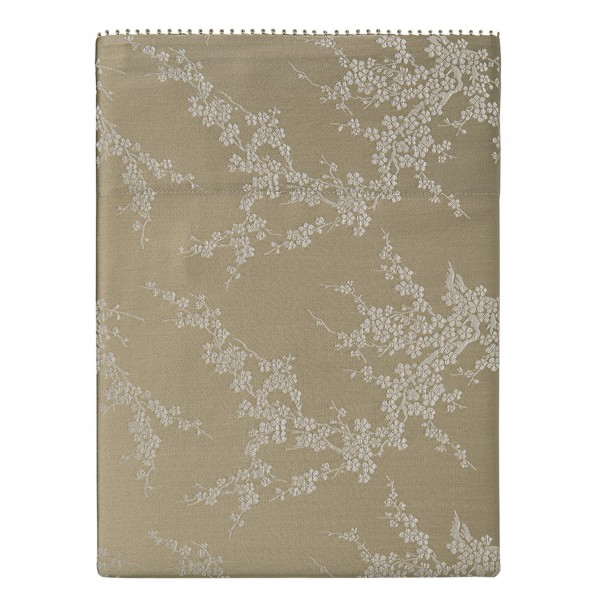 """OCTOBRE Flat sheet in jacquard and organic cotton sateen printed """"Branches of cherry trees"""""""