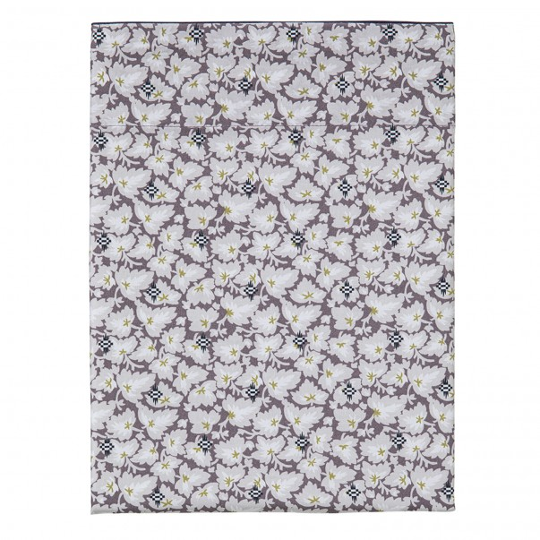 """SOUS-BOIS Flat sheet in organic cotton percale printed """"Art deco leaves and ikat patterns"""""""