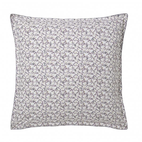 """SOUS-BOIS Pillowcase in organic cotton percale printed """"Art deco leaves and ikat patterns"""""""