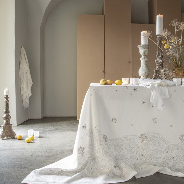 """OCEANIDE Printed and embroidered linen tablecloth - """"French Origin"""" guaranteed"""
