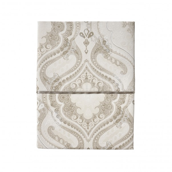 """Flat sheet NAMASTE Biscuit, printed sateen """"Cashemere"""" pattern"""