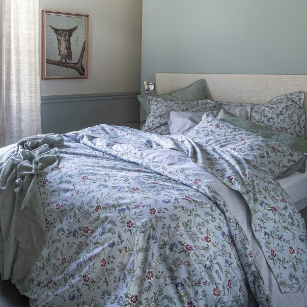 "CANDIDE Bed set in printed cotton percale ""Flore Persane"""