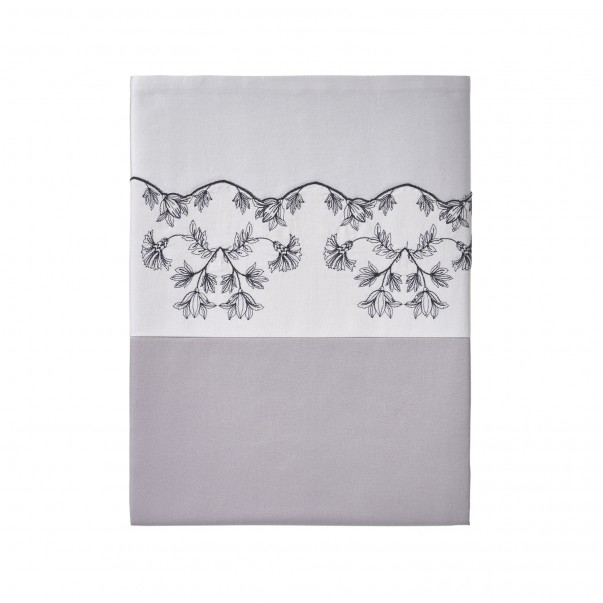 Flat sheet RHAPSODY in two tone sateen with embroidery