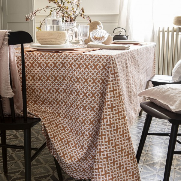 "TRIBU Tablecloth anti-stains printed cotton sateen ""Raphia"""