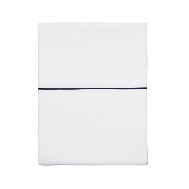 Flat sheet ORSAY in jacquard and organic cotton sateen white blue navy ribbon