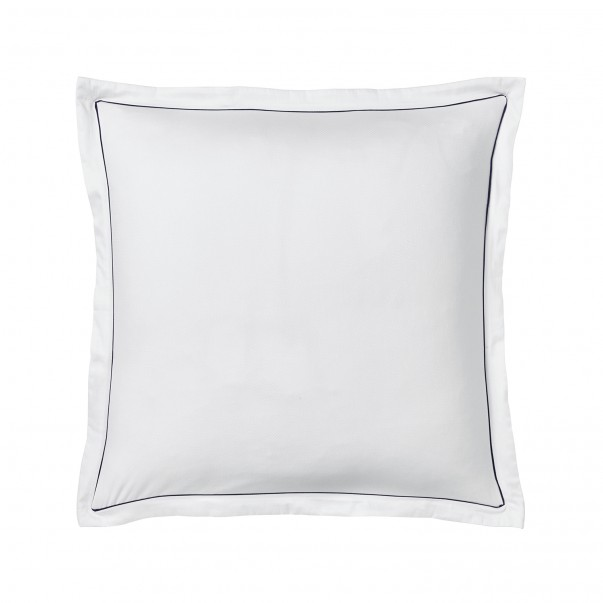 Pillowcase ORSAY in jacquard and organic cotton sateen white blue navy ribbon