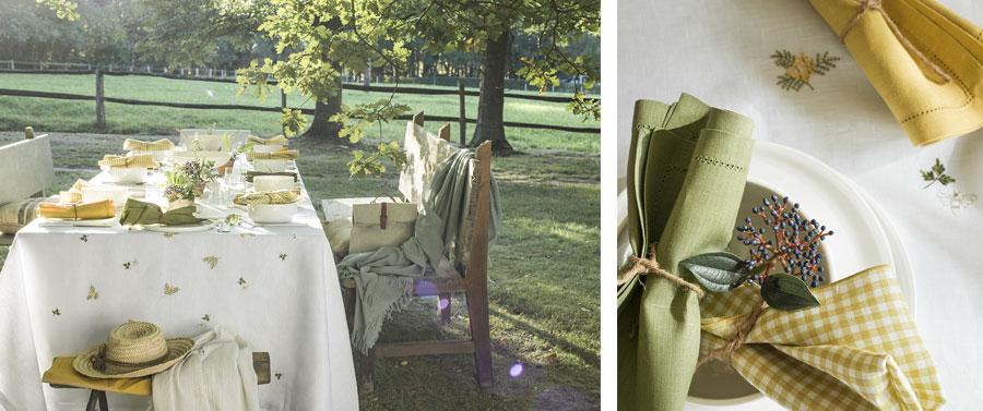 Nappe Vert galant et serviette vichy florence